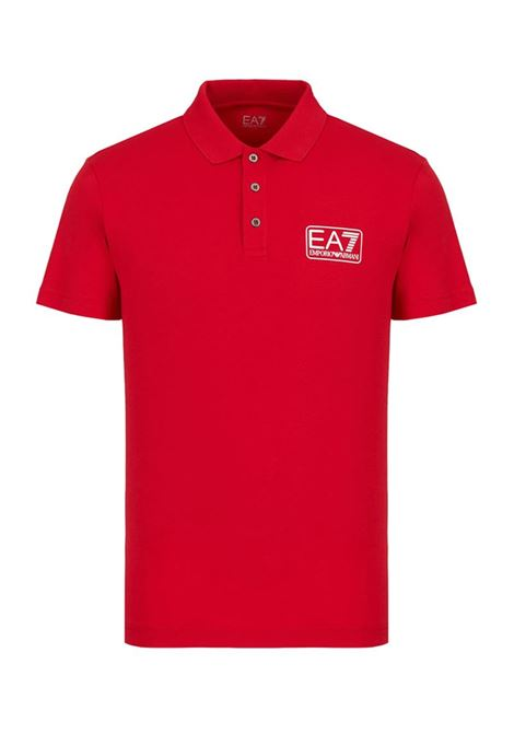 POLO IN PIQUET CON LOGO E.A. 7 | Polo | 8NPF12PJNQZ1450TANGORED