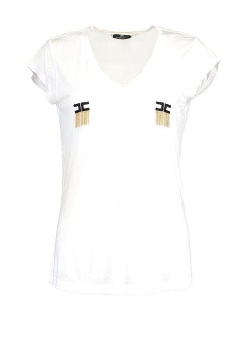T-SHIRT MANICA CORTA CON LOGO E MICRO CATENE ELISABETTA FRANCHI | T-shirt | MA19711E2270GESSO