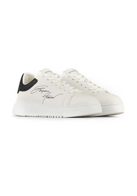 SNEAKERS IN PELLE EMPORIO ARMANI | Sneakers | X4X264XM670N422WHITEBLACK