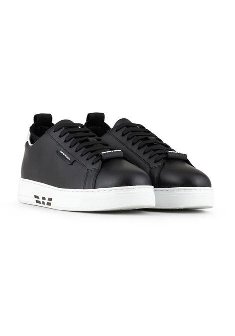 SNEAKERS IN PELLE EMPORIO ARMANI | Sneakers | X4X308XM709N523BLACKWHITE