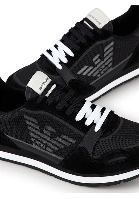 SNEAKERS IN MESH E SUEDE EMPORIO ARMANI | Sneakers | X4X537XM678N639BLACK