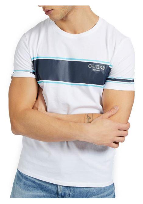 T-SHIRT STAMPA FRONTALE GUESS | T-shirt | M1RI56K8HM0S07GWHITEBLUE