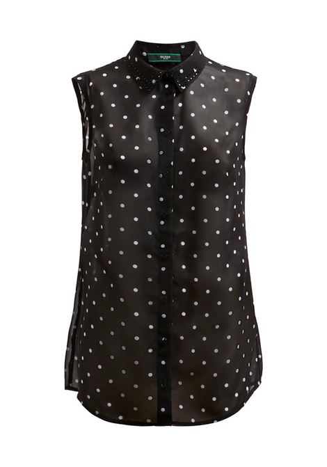 CAMICIA STAMPA ALL OVER GEORGETTE GUESS | Camicia | W1GH0RW70Q0PL94BLACKWHITE