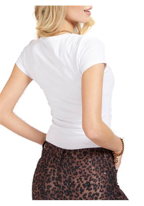 T-SHIRT LOGO FRONTALE GLITTER GUESS | T-shirt | W1GI36J1300A000WHITE