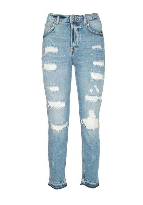 JEANS STRAIGHT FIT CON ABRASIONI LIU JO BLUE DENIM | Jeans | UA1019D434378101DENBLUE