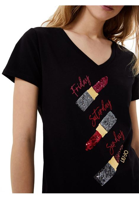 T-SHIRT CON STAMPA E APPLICAZIONI LIU JO JEANS | T-shirt | WA1270J5003W9188NEROLIPSTICK