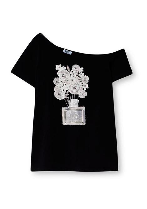 T-SHIRT CON STAMPA E APPLICAZIONI LIU JO JEANS | T-shirt | WA1271J5003T9802NERO