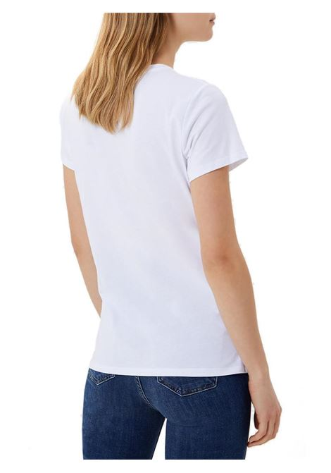 T-SHIRT CON STAMPA E APPLICAZIONI LIU JO JEANS | T-shirt | WA1328J5003T9617BIANCOOTTICO