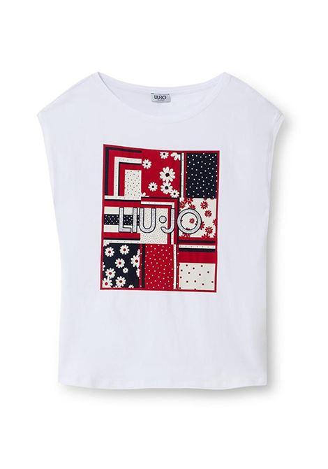 T-SHIRT CON STAMPA E APPLICAZIONI LIU JO JEANS | T-shirt | WA1333J5003T9609BIANCOOTTICO
