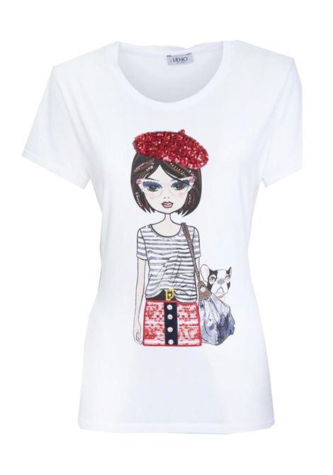 T-SHIRT IN COTONE  CON STAMPA LIU JO JEANS | T-shirt | WA1519J500311111BIANCOOTTICO