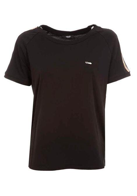 T-SHIRT CON MANICHE DI STRASS LIU JO SPORT | T-shirt | TA1146J500322222NERO