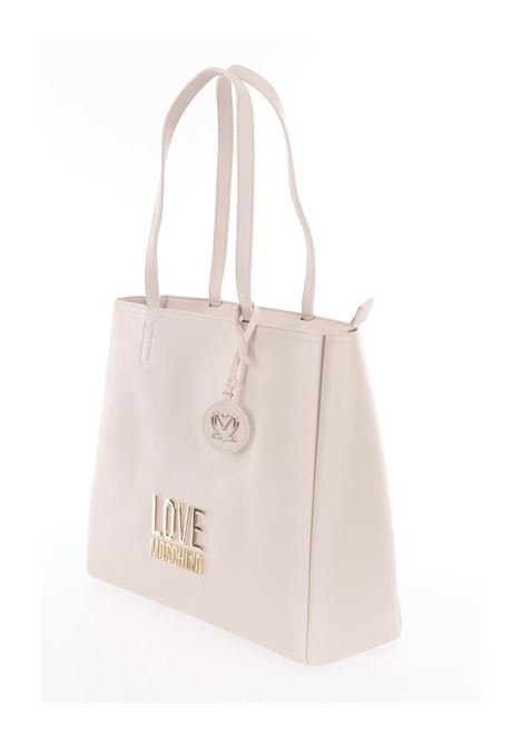 SHOPPER CON MANICI E LOGO IN METALLO LOVE MOSCHINO | Borsa | JC4100PP1CLJ010AAVORIO