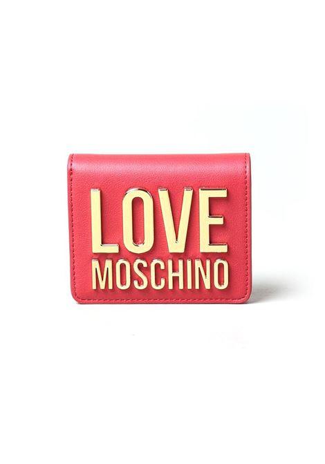 PORTAFOGLIO IN PELLE SINTETICA E LOGO LOVE MOSCHINO | Portafoglio | JC5612PP1CLJ050AROSSO