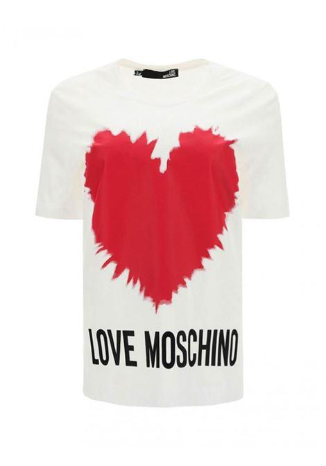 T-SHIRT CON STAMPA CUORE LOVE MOSCHINO | Maglia | W4F153AM3876A00OPTICALWHITE