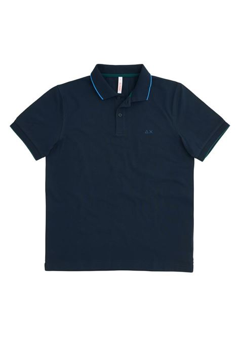 POLO SMALL STRIPES ON COLLAR EL. SUN68 | Polo | A3111007NAVYBLUE