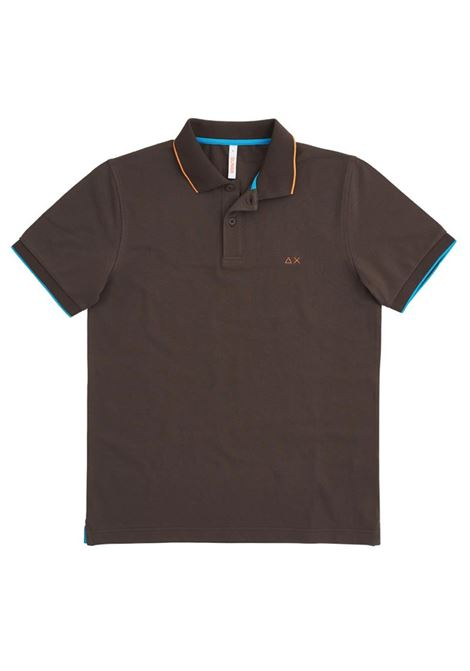 POLO SMALL STRIPES ON COLLAR EL. SUN68 | Polo | A3111008MARRONE