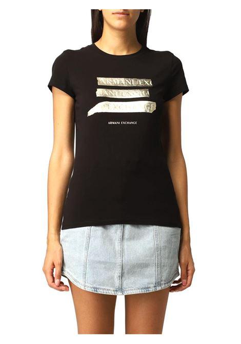 T-SHIRT CON LOGO FRONTALE AX ARMANI EXCHANGE | T-shirt | 6KYTGMYJC7Z1200BLACK