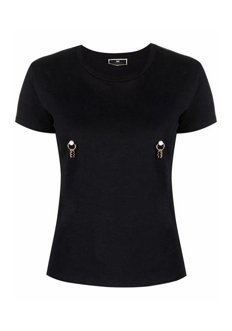 T-SHIRT CON APPLICAZIONE PIERCING ELISABETTA FRANCHI | T-shirt | MA20616E2110NERO