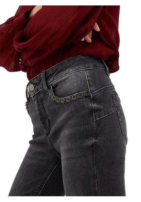JEANS SKINNY CON STRASS LIU JO BLUE DENIM | Pantalone | UF1003D426887276DENIMDARKGREY