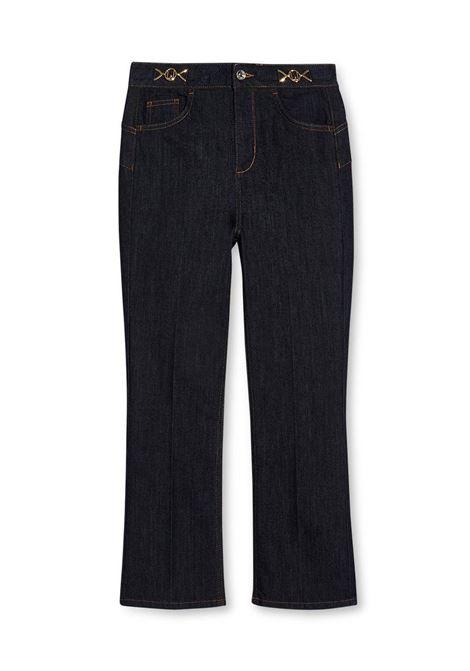 JEANS FLARE CON DETTAGLI GIOIELLO LIU JO BLUE DENIM | Pantalone | UF1106D309277000