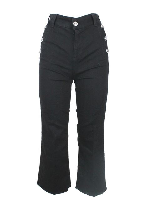 PANTALONE CROPPED FRINGED LIU JO BLUE DENIM | Pantalone | UF1112D441888210BLACK