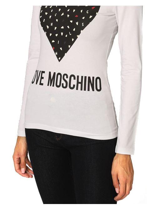 T-SHIRT IN COTONE CON CUORE LOVE MOSCHINO | T-shirt | W4G5223E1951A00OPTICALWHITE