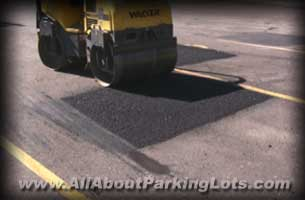 patching an asphalt parking lot
