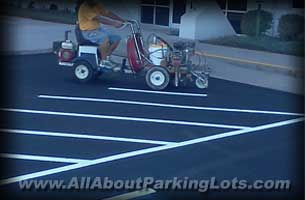 striping an asphalt parking lot