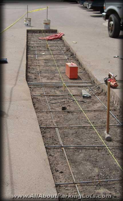 concrete repair contractor installing a concrete drain pan