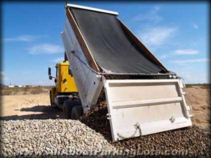 dumping gravel for a gravel parking lot
