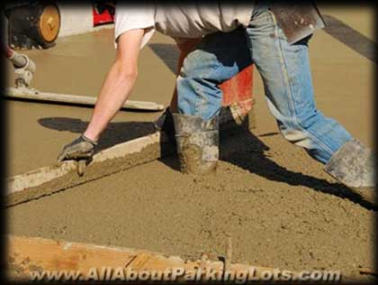 floating concrete for a concrete parking lot