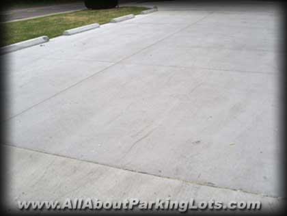 a new concrete parking lot