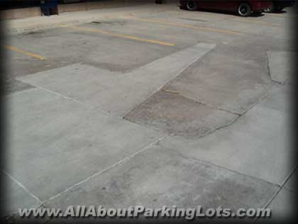 an old concrete parking lot