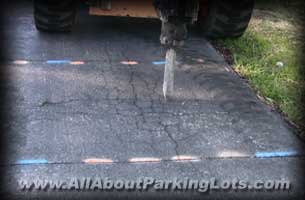 remove and replace patching an asphalt parking lot