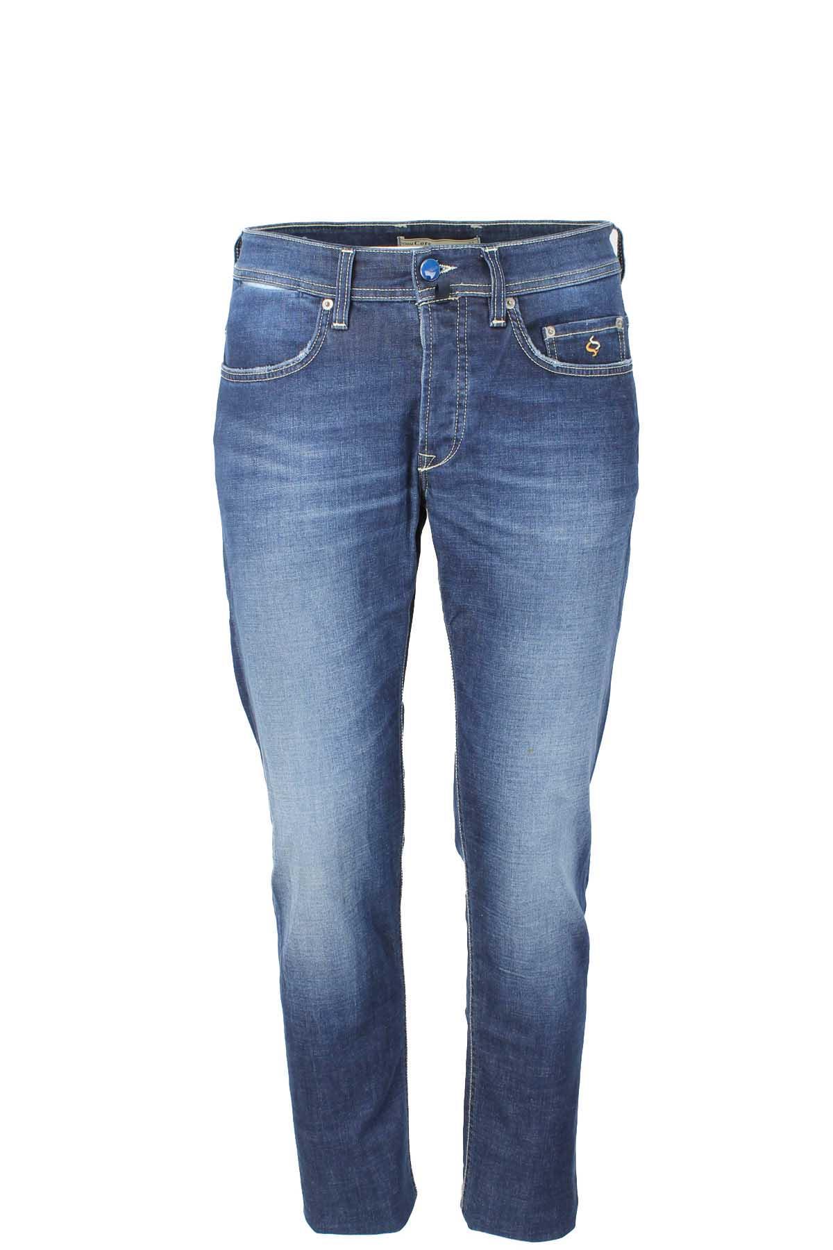 Jeans Uomo Casual Slim Fit Pantalone Strappato 5 Tasche Blu Denim Skinny