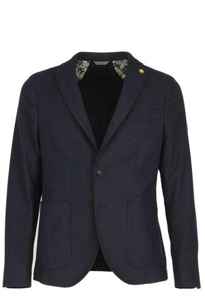 Giacca blazer blu microfantasia con toppe Manuel Ritz | 1524822584 | 2332G2719X17368589