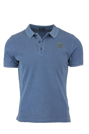PIQUE POLO SHIRT WITH STRIPED RIBBING BLAUER | 34 | BLUT02036004865847
