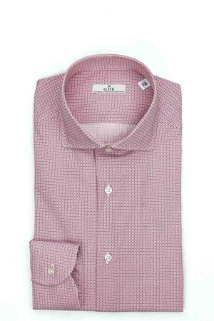 Camicia manica lunga cotone microfantasia stretch G.H.R. | -880150793 | 68B878GH38203