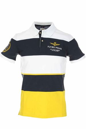 Multicolor horizontal horizontal bands half-sleeve polo Aeronautica Militare | 34 | PO1429-90844