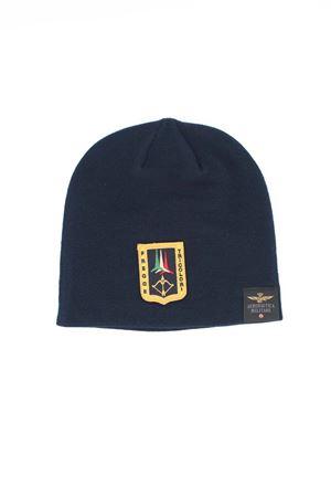 Cappellino cuffia in lana con patch Aeronautica Militare | -1033670417 | CU023-BL