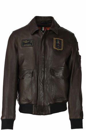 Giubbotto in pelle con patch Aeronautica Militare | 18 | PN8951-TM