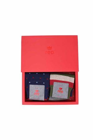 Cofanetto regalo due paia calze righe e pois RED | 796998705 | 64816G2902RD
