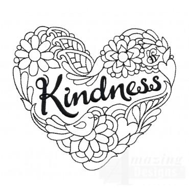 Kindness Heartfelt Doodle Embroidery Design