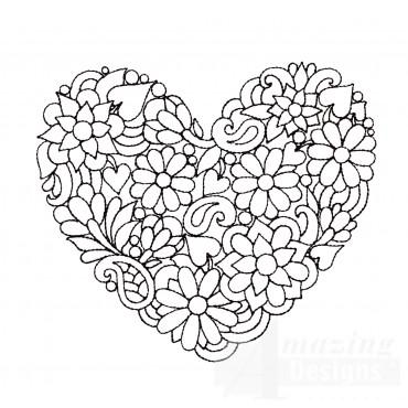 Flower Heartfelt Doodle Embroidery Design