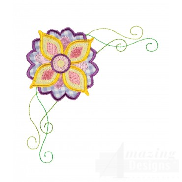 Flower Corner Happy Day Applique Embroidery Design