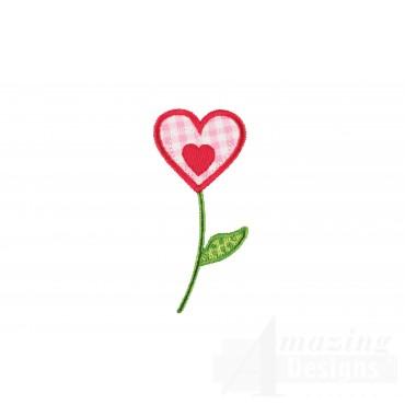 Single Heart Flower Applique Embroidery Design
