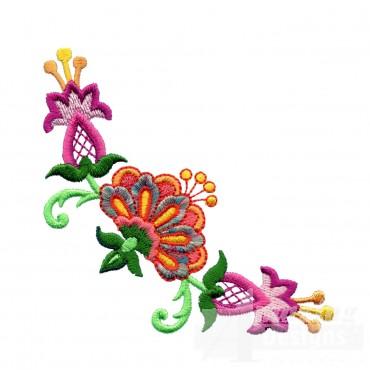 Hummingbird Flower Corner Embroidery Design