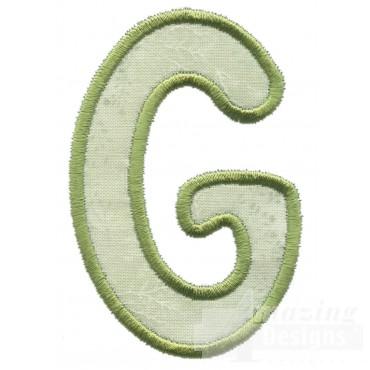Capital G Applique Embroidery Design