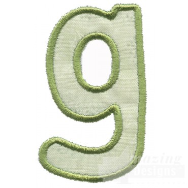 Lower Case G Applique Embroidery Design