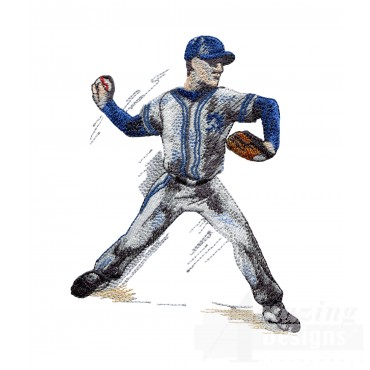Pitcher Game Day Baseball Embroidery Design